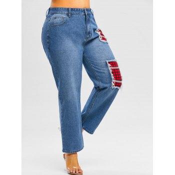 Plus Size Plaid Patch Distressed Jeans