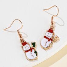 1pair Christmas Snowman Drop Earrings