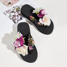 Zapatillas chancletas aplique floral