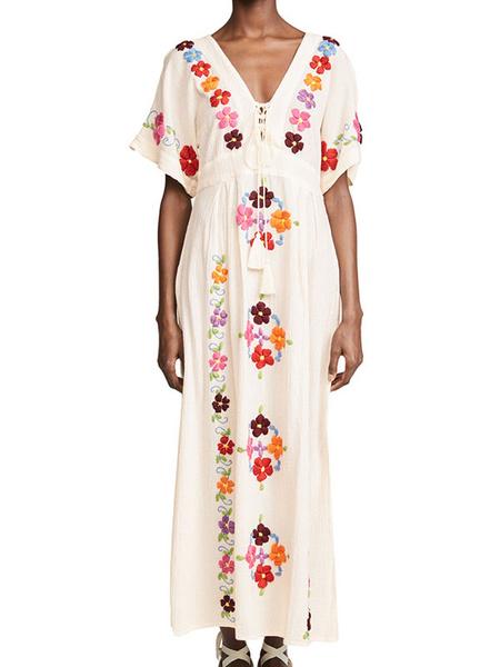 Milanoo White Boho Dress Embroidered V Neck Short Sleeves Hippie Dress