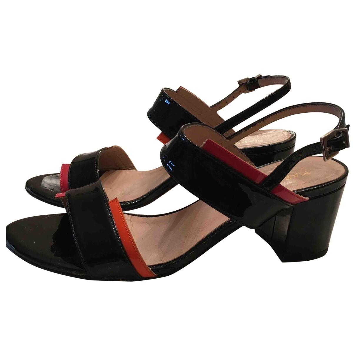 - Sandales   pour femme en cuir verni - noir