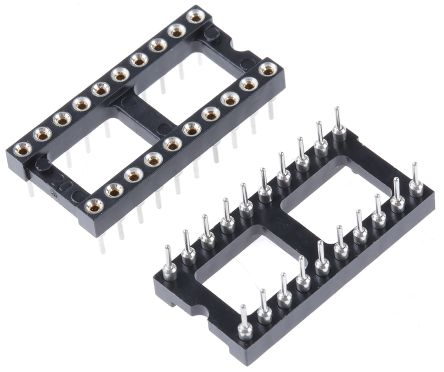 Preci-Dip 2.54mm Pitch Vertical 20 Way, Through Hole Turned Pin Open Frame IC Dip Socket, 1A (5)