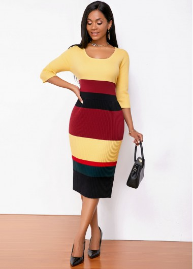 Cocktail Party Dress Round Neck Three Quarter Sleeve Contrast Sweater Dress - M