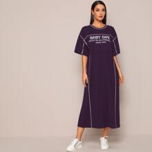 Kleid mit Kontrast Stich und Buchstaben Grafik