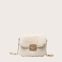 Girls Minimalist Fluffy Chain Bag