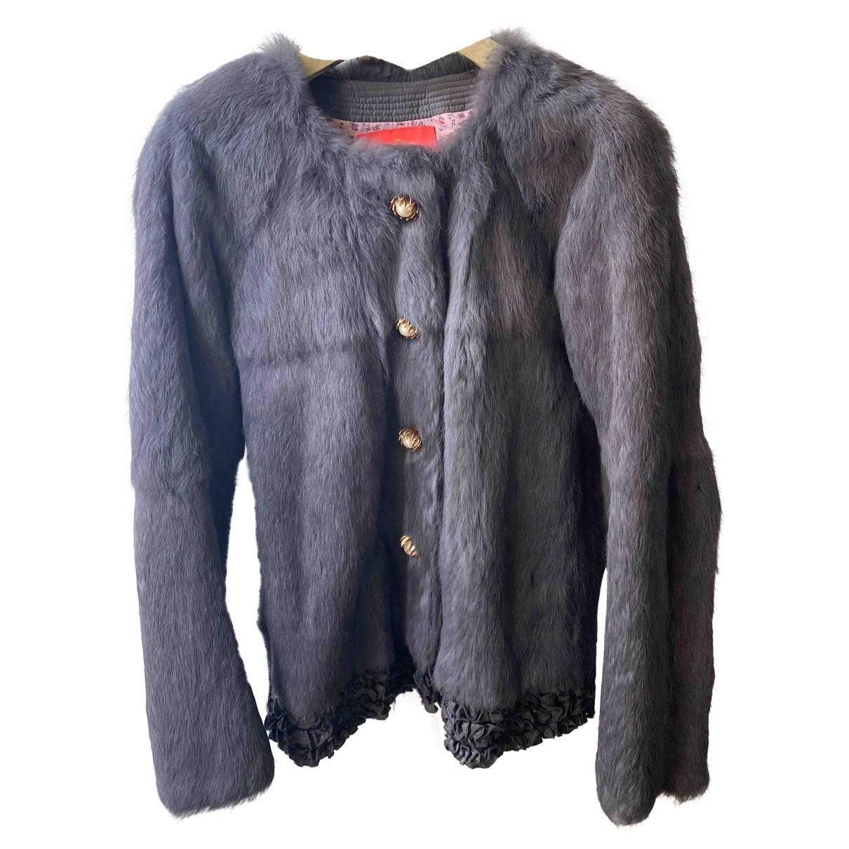 Manoush - Veste   pour femme en lapin - gris