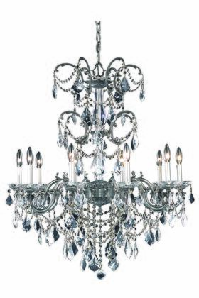 9710D29PW/SS 9710 Athena Collection Hanging Fixture D29in H35in Lt: 10 Pewter Finish (Swarovski Strass/Elements