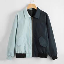 Two Tone Zipper Front Flap Pocket Jacket