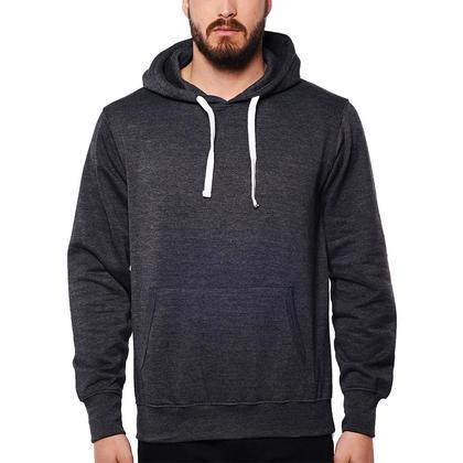 Cotton blend hoodie with Kangaroo Pocket Charcoal Mix - LIVINGbasics™ - XL