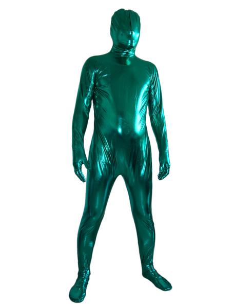 Milanoo Disfraz Halloween Zentai de brillo metalico de color verde  Halloween