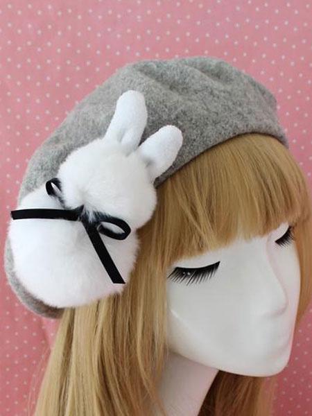 Milanoo Sweet Lolita Beret Bow Faux Fur Bunny Wool Lolita Hat