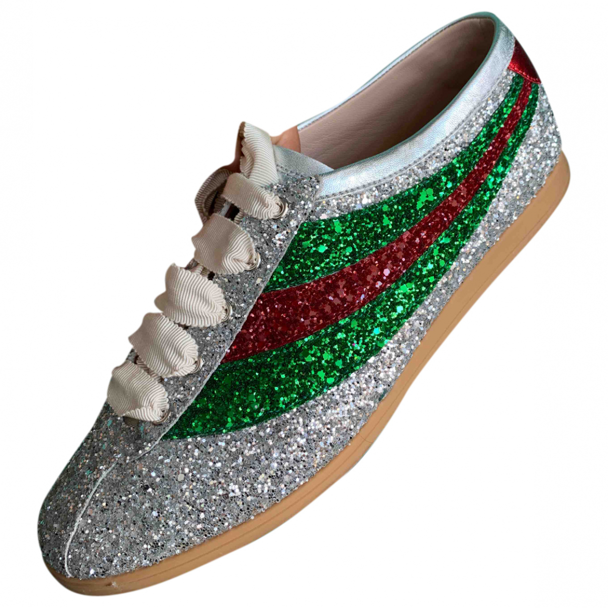 Gucci Falacer Silver Glitter Trainers for Men 8 UK