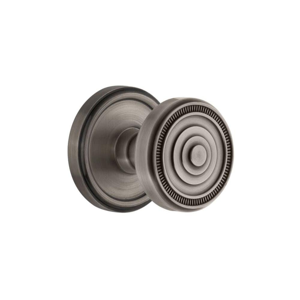 Grandeur GEOSOL_PRV_238 Georgetown Solid Brass Rose Privacy Knob Set (Satin Nickel)