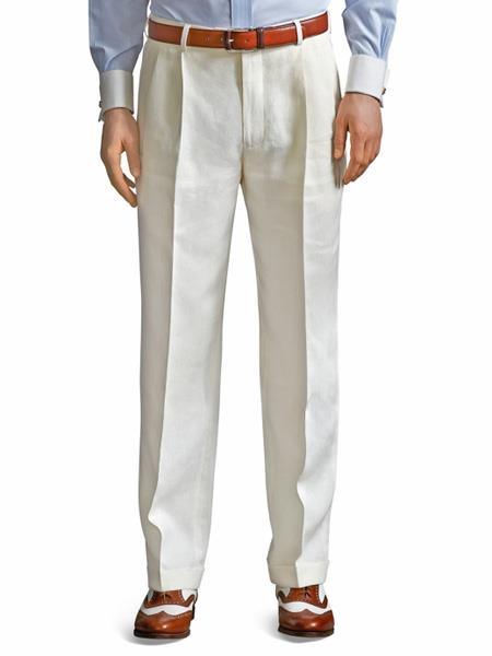 Ivory ~ Cream ~ Off White Pleated Dress Wool Pant For Men