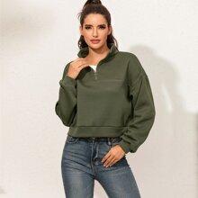 Solid Half Zipper Crop Sweatshirt