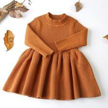 Toddler Girls Solid Mock Neck Ribbed Knit Dress