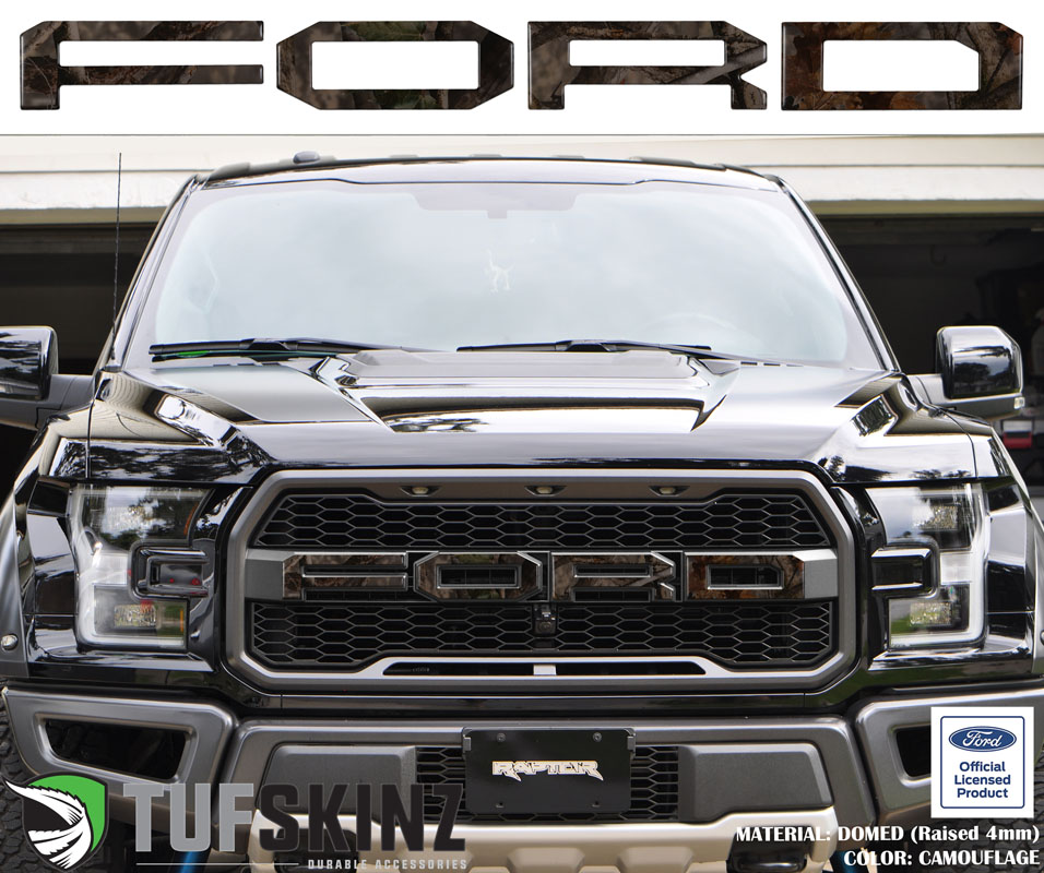 Tufskinz FRD007-CAM-M Front Grill Overlays Fits 15-Up Ford Raptor 4 Piece Kit in Camouflage