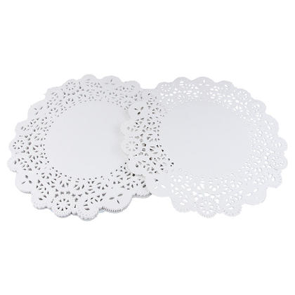 Party Hollow Round Lace Paper Doily Placemats Cake Table Decor, 8.5