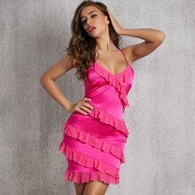 Slip Kleid mit Raffungsaum