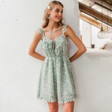 vestido de tirante floral de margarita ribete fruncido con cordon delantero