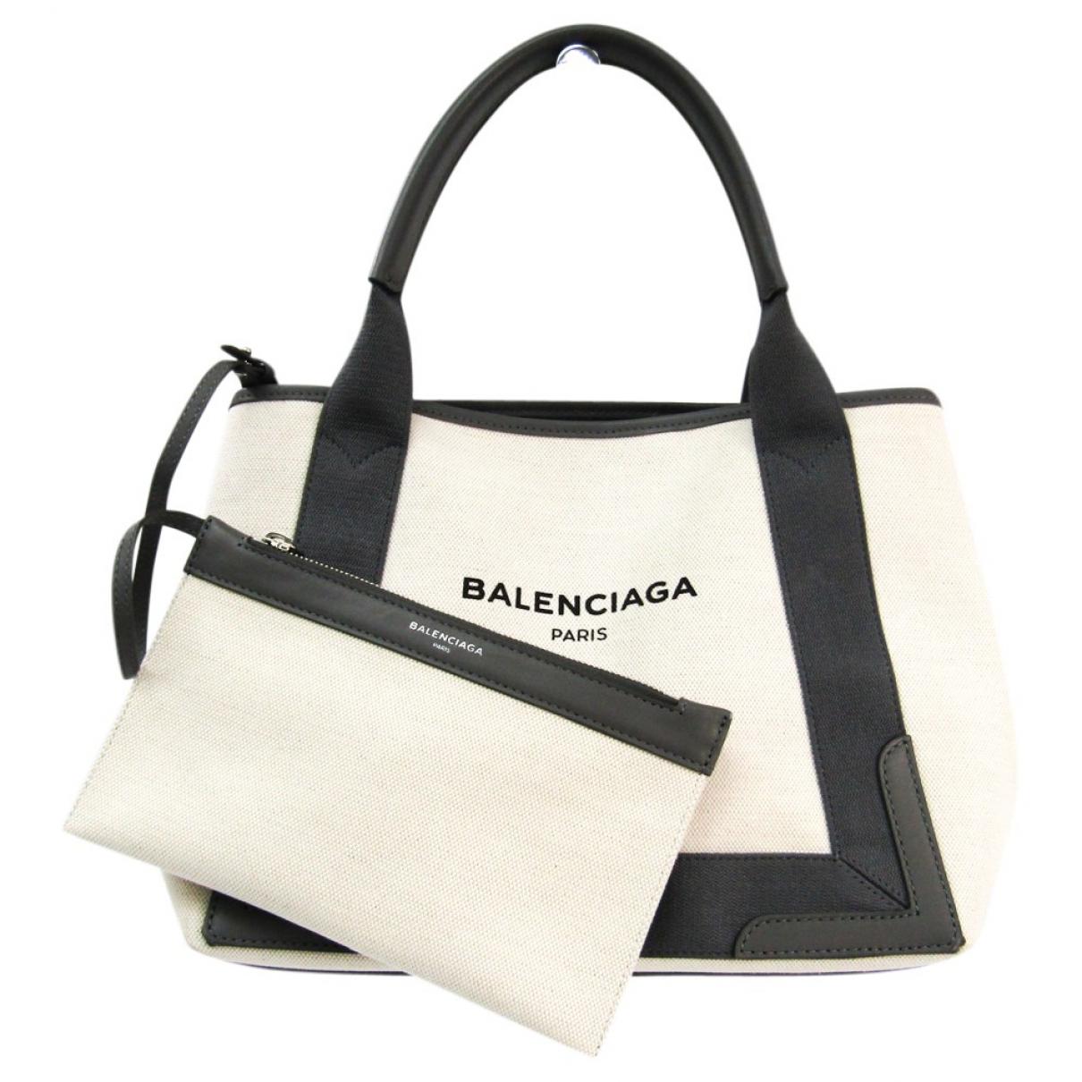 Balenciaga - Sac a main Navy cabas pour femme en toile - beige