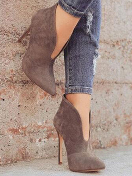 Milanoo High Heel Booties Suede Pointed Toe Ankle Boots For Women