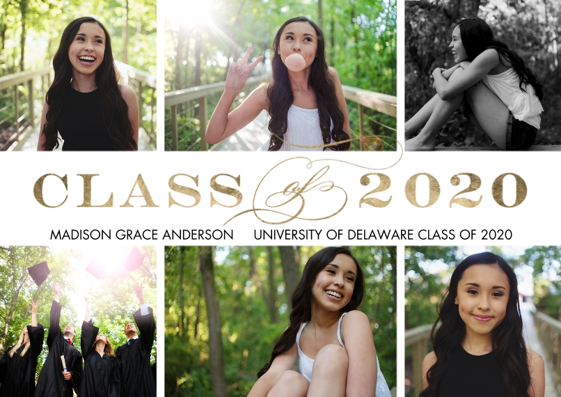 2020 Graduation Announcements Flat Matte Photo Paper Cards with Envelopes, 5x7, Card & Stationery -2020 Class of Simple by Tumbalina