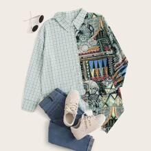 Bluse mit Kontrast Karo Muster und asymmetrischem Saum