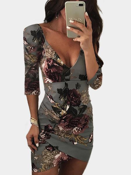 Yoins Grey Backless Design Random Floral Print V-neck Half Sleeves Mini Dress