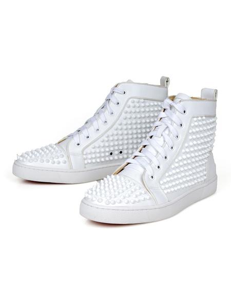 Milanoo Zapatillas altas para hombre, piel de vaca, punta redonda, remaches, zapatos de skate con cordones