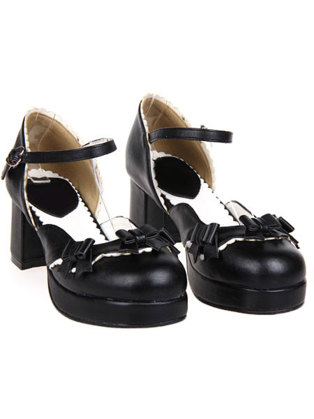Milanoo Sweet Chunky Heels Lolita Shoes Platform Strap Buckles Bows
