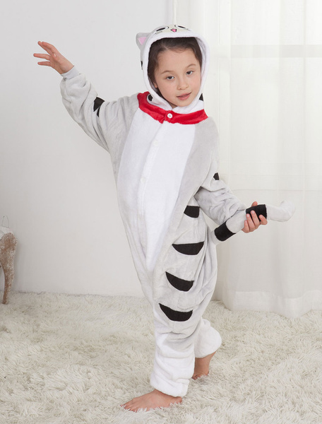 Milanoo Kids Onesie Kigurumi Pajamas Chis Sweet Home Unisex Light Grey Sleepwear Mascot Animal Halloween Costume