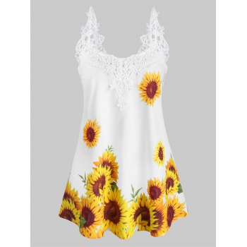 Crochet Lace Panel Sunflower Cami Top