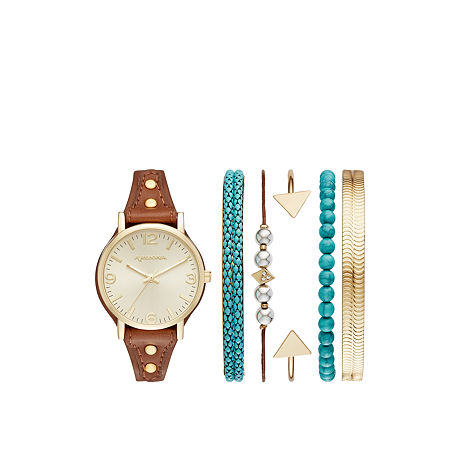 Arizona Womens Brown 7-pc. Watch Boxed Set-Fmdarz159, One Size , No Color Family