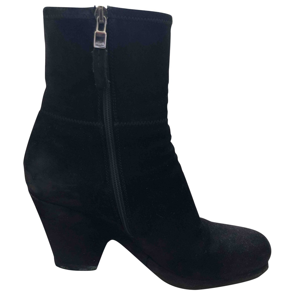 Prada \N Black Suede Ankle boots for Women 36.5 EU