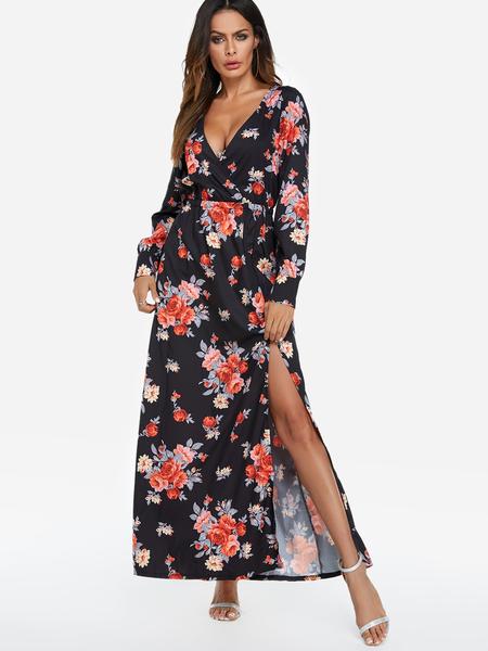 Yoins Black Slit Design Random Floral Print Deep V Neck Long Sleeves Maxi Dress
