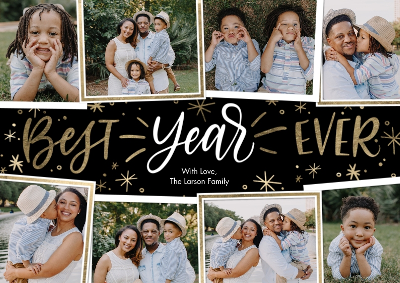 New Year's Photo Cards 5x7 Cards, Premium Cardstock 120lb with Scalloped Corners, Card & Stationery -New Year Best Year Ever Collage by Tumbalina