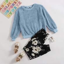Conjunto pullover teddy con pantalones floral