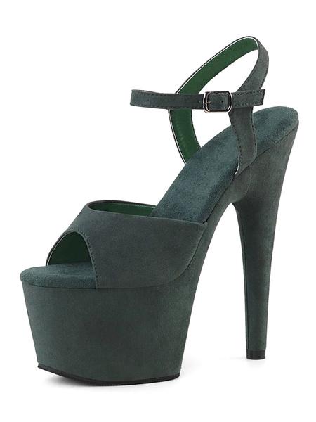 Milanoo Sandalias sexy para mujer Zapatos de cuero negros con correa de monje peep toe de cuero negro Zapatos sexy