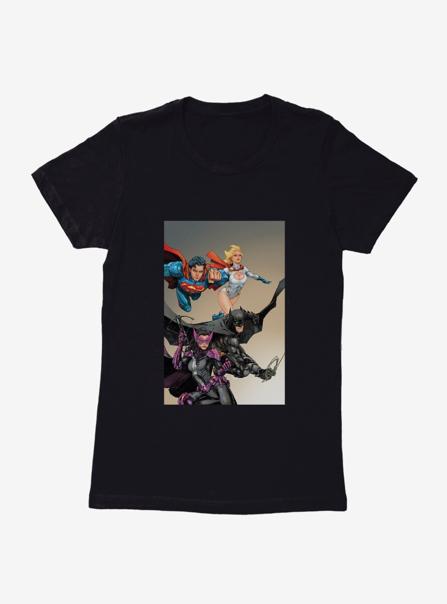 DC Comics Birds Of Prey Huntress And Justice League Womens T-Shirt