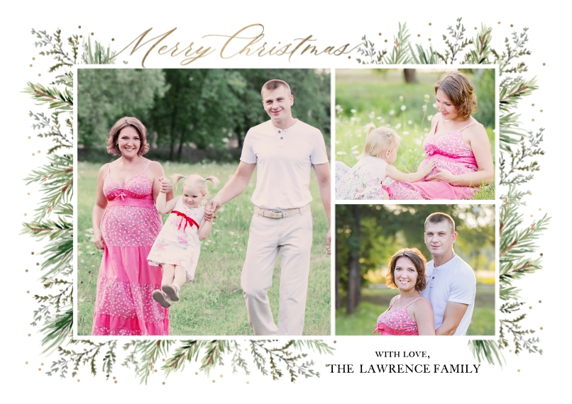 Christmas Photo Cards Flat Glossy Photo Paper Cards with Envelopes, 5x7, Card & Stationery -Christmas Foliage Borders by Tumbalina