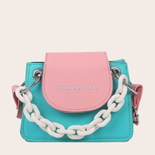 Girls Color Block Chain Handle Satchel Bag