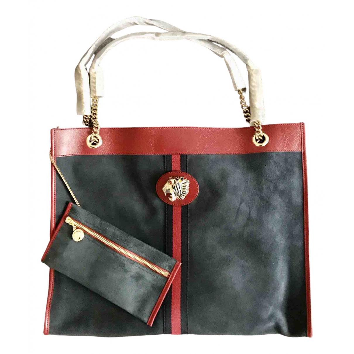 Gucci Rajah Handtasche in  Blau Veloursleder