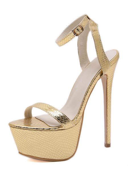 Milanoo Women Platform Sexy Sandals Open Toe Ankle Strap Stiletto Heel Shoes