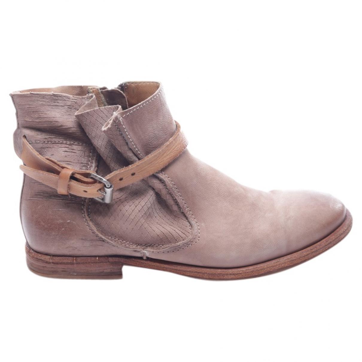 A.s.98 - Boots   pour femme en cuir - marron