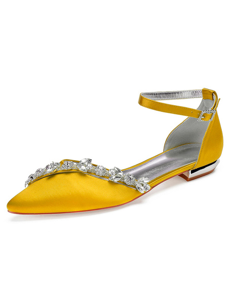 Milanoo White Wedding Shoes Satin Pointed Toe Rhinestones Bridesmaid Shoes Flat Bridal Shoes