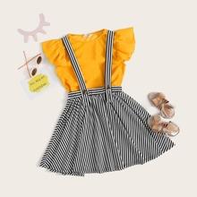Conjunto de niñas top de sisa fruncido con falda de tira de rayas