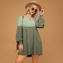 Two Tone Bishop Sleeve Sweater Dress