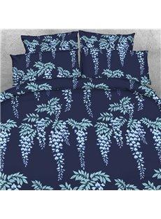 Designer Sliver Strings Printed Navy Blue Polyester 4-Piece Bedding Sets/Duvet Cover