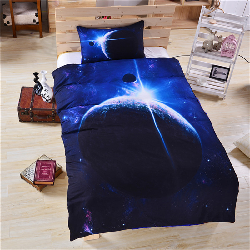 3D Celestial Body Printed Polyester 3-Piece Blue Bedding Sets/Duvet Covers